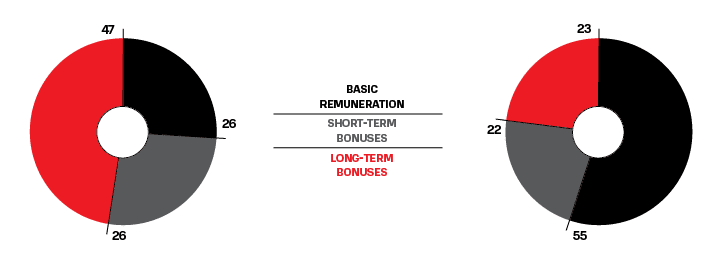 Typical remuneration structure ratio